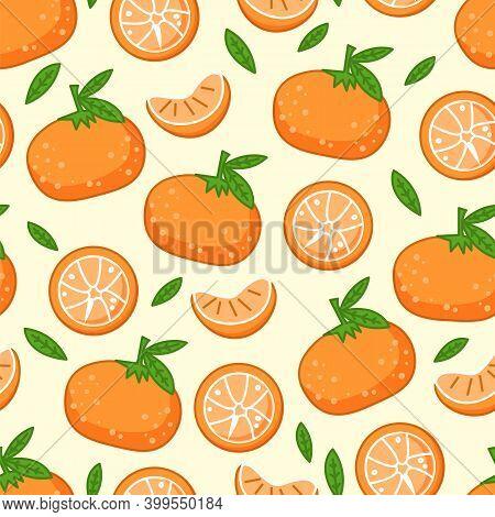 Pattern With Fresh Tangerines With Green Leaves. Vector Orange Citrus Fruit Ripe Mandarin On White B