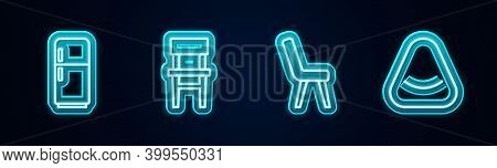 Set Line Refrigerator, Chair, Armchair And Pouf. Glowing Neon Icon. Vector