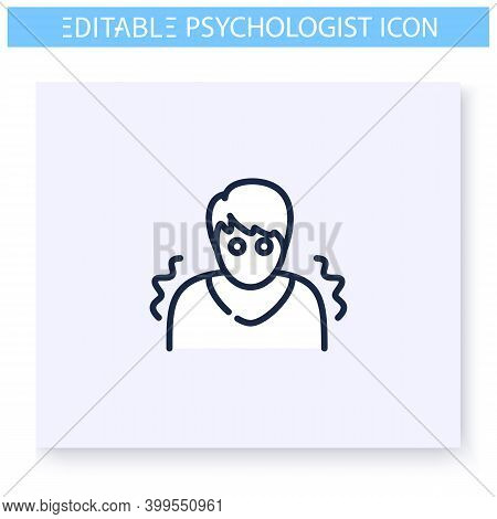 Panic Disorder Line Icon. Psychological Cognitive Problem. Panic Attack. Psychotherapy Help. Mental
