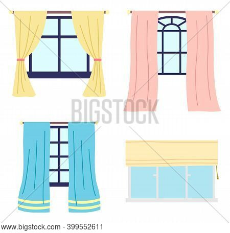 Collection Of Different Wooden Frame Windows With Colorful Curtains, Roman Curtain At Plastic Window
