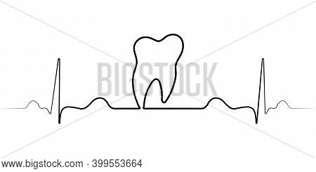 Logo Medical Dental Clinic With A Single Line, Vector Pulse, And The Tooth Of The Dental Office Icon