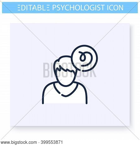 Confused Things Line Icon. Psychological Cognitive Problem. Delirium, Mental Disorientation. Psychot