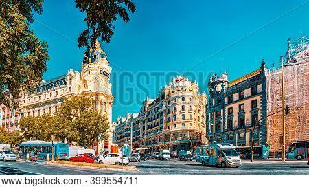 Gran Via Street In Madrid,at Day Time, Traffic, Car On Gran Via