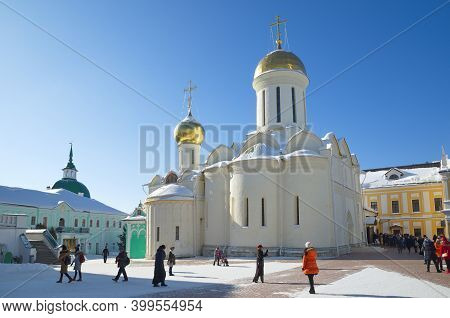 Sergiev Posad, Russia - February 27, 2018: Trinity Cathedral In The Holy Trinity Sergius Lavra. Gold