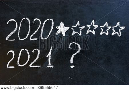 2020 One Star Rate And 2021 Question Mark. Expectations Concept.