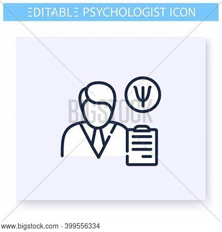 Psychologist Line Icon. Psychiatrist. Psychologic, Cognitive Problems Specialist Psychotherapy. Ment