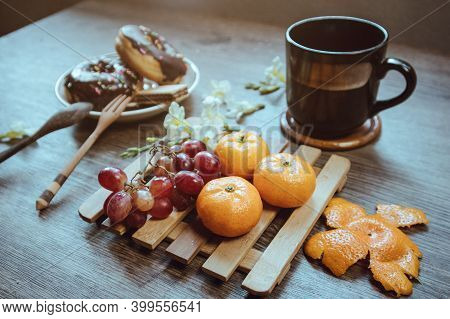 Rustic Breakfast, Fruit Placed On Bamboo Container.