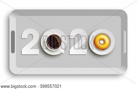 Happy New Year 2020 Breakfast Coffee Donuts Background. Greeting Card 2020 Cup Of Coffee Donuts Icin