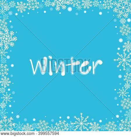 Photo Frame With White Snowflakes And Dots.vector Blue Holiday Greeting Card With Frosted Decorative