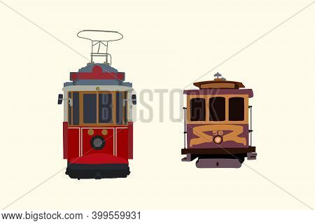Set The Tram. Retro Car Detailed Urban Transport. Electric Vehicles In The City. Vintage Transport C
