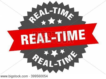 Real-time Sign. Real-time Circular Band Label. Round Real-time Sticker