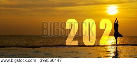 Happy New Year Card 2021. Silhouette Lifestyle Woman Yoga Practicing Yoga Standing As Part Of Number