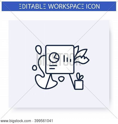 Biohilic Office Design Line Icon. Workers Health Focused Workspace. Office Gardening. Contemporary W