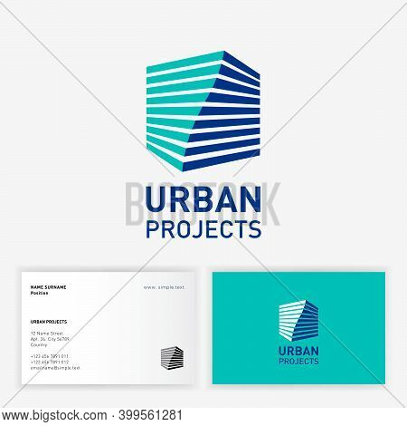 Urban Project Logo. Icon Of Architect Bureau. Twisted сube With Volume Effect And Letters. Logo Can