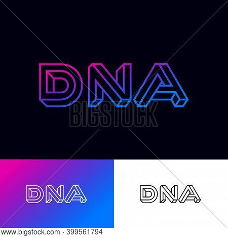 Dna Logo. D, N, A Impossible Letters Logo On With Illusion Of Volume. Logo Can Used For Biotechnolog