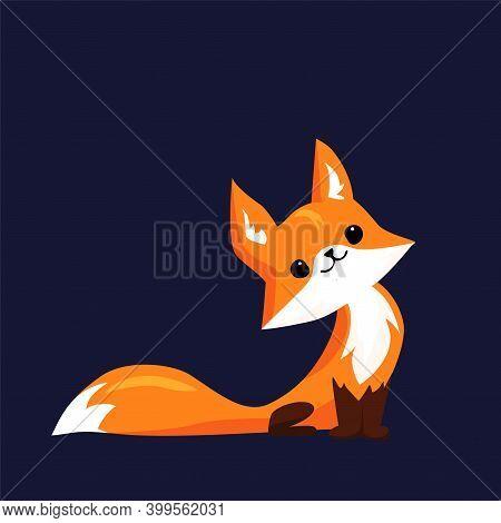 Cute Little Fox Looking Up. Cartoon Vector Illustration