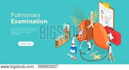 3d Isometric Flat Vector Conceptual Illustration Of Pulmonary Examination.