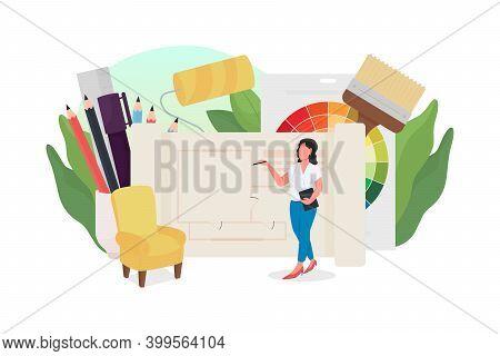 Interior Designer Flat Concept Vector Illustration. Woman Working On Home Renovation. House Decorati