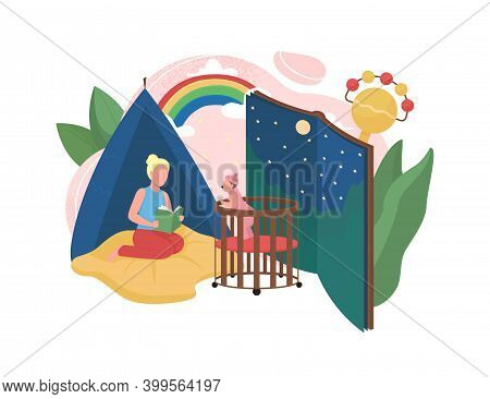Babysitting Flat Concept Vector Illustration. Read Fairy Tale Book Before Bedtime. Bedroom For Baby.