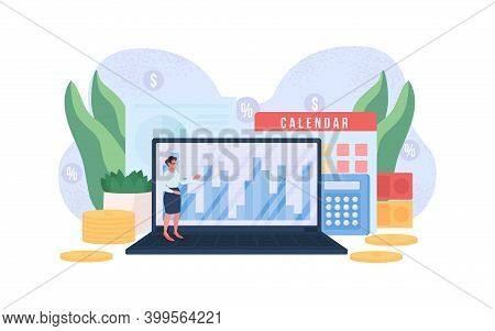 Accountant Flat Concept Vector Illustration. Woman With Computer. Money Report On Laptop. Financial