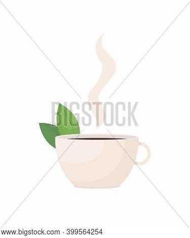 Herbal Tea Flat Color Vector Object. Hot Drink. Beverage With Spearmint. Black Tea. Healthy Liquid I