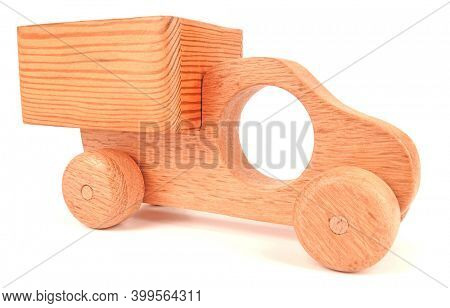 Wooden toy truck for children vintage handmade isolated on white background