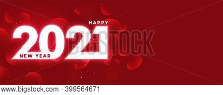 Red Glowing 2021 Shiny Happy New Year Design