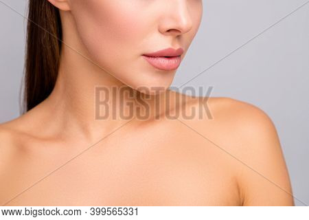 Closeup Cropped Profile Photo Of Attractive Lady Nude Shoulders Plump Perfect Shape Lips After Injec