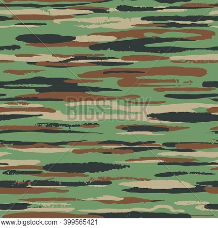 Grunge Green And Brown Camouflage, Modern Fashion Design. Khaki Camo Made Brush Strokes Hand Draws P