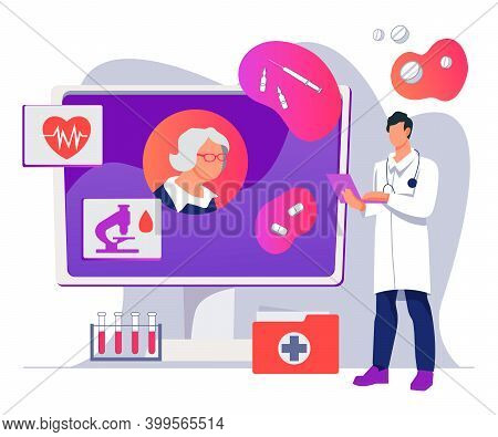 Telemedicine And Online Medical Service For Elderly People, Vector Isolated.