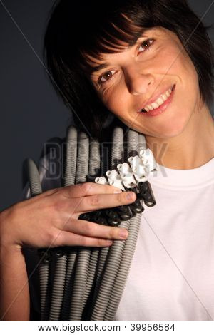 Woman setting up network