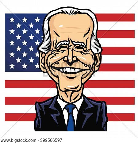 Joe Biden Elected President Of Us United States With American Flag Background Cartoon Caricature Vec