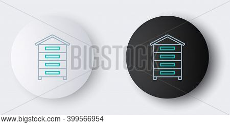 Line Hive For Bees Icon Isolated On Grey Background. Beehive Symbol. Apiary And Beekeeping. Sweet Na