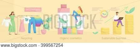 Environmentally Friendly Business Abstract Concept Vector Illustration Set. Sustainable Business, Re