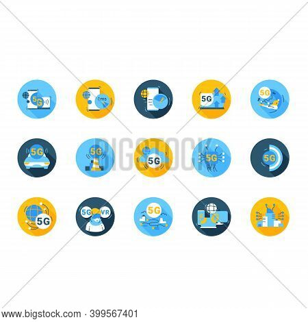 5g Flat Icons Set. Broadband Internet Of Things Signs. Digital Web Connection And 5th Generation Of