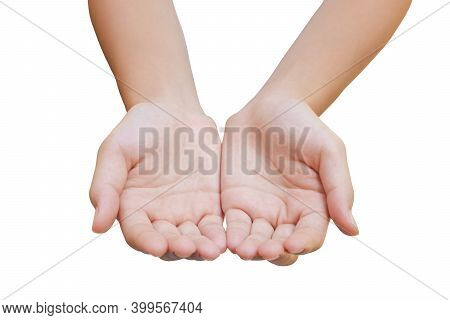 Caucasian Female Hand Gesturing In White Background. (clipping Path)