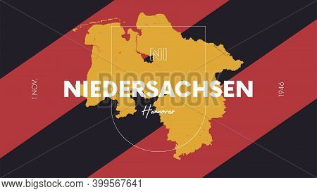 3 Of 16 States Of Germany With A Name, Capital And Detailed Vector Niedersachsen Map For Printing Po