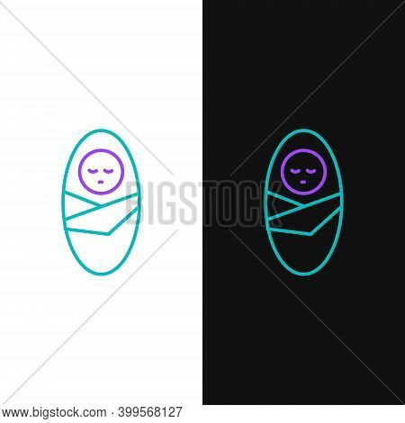 Line Newborn Baby Infant Swaddled Or Swaddling Icon Isolated On White And Black Background. Baby Kid