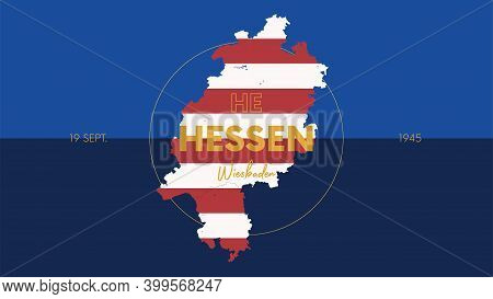10 Of 16 States Of Germany With A Name, Capital And Detailed Vector Hessen Map For Printing Posters,