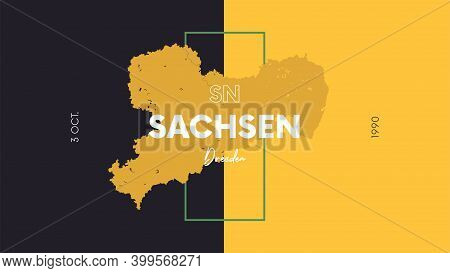 13 Of 16 States Of Germany With A Name, Capital And Detailed Vector Sachsen Map For Printing Posters