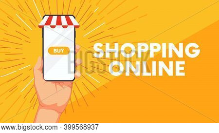 Business Background With Human Hand And Phone, Shopping Online Mobile Application Vector Concept Mar