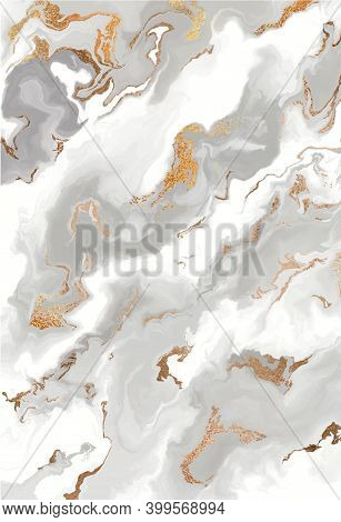 Gray Marble Canvas Abstract Painting Background With Gold Line Texture. Gray Liquid Background.