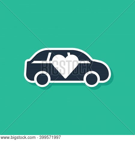 Blue Luxury Limousine Car Icon Isolated On Green Background. For World Premiere Celebrities And Gues