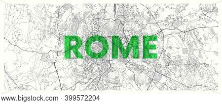 City Map Rome, Detailed Road Plan Widescreen Vector Poster