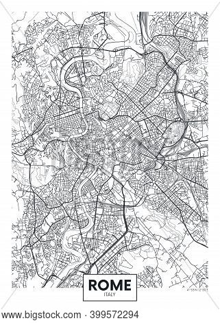City Map Rome, Travel Vector Poster Design