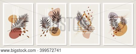 Collection Of Compositions With Geometric Shapes And Exotic Tropical Leaves In Pastel Colors, Trendy