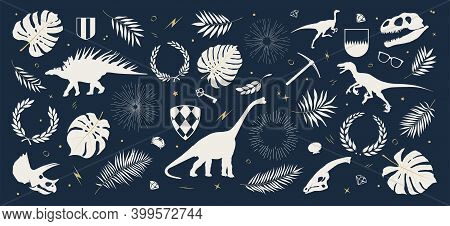 Collection Of Dinosaur Silhouettes, Shields, Tropical Leaves And Plants, Sun Rays And Wreaths, Other