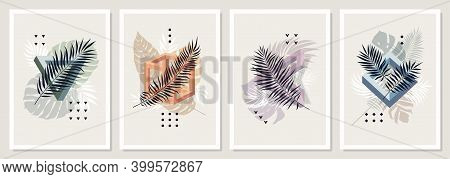 Collection Of Vector Posters With Impossible Geometric Shapes, Tropical Leaves And Plants, Abstract