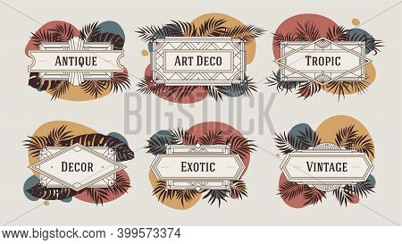 Decorative Geometric Borders And Frames, With Abstract Shapes In Terracotta Color And Tropical Leave