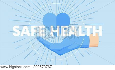 Gesture Human Hand Against The Background Of The Sunburst, Medical Concept, Vector Poster With The S